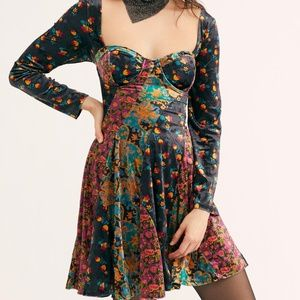 Free People Regina Velvet Bustier Mini Dress